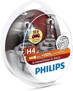 PHILIPS H4 X-tremeVision G-force 12V 60/55W Halogen Car Headlight Bulbs Twin Pack