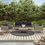 Festnight 4-TLG. Garten-Lounge-Set mit Auflagen Garten-Sofagarnitur Gartenlounge Rattan Gartenmöbelset Terrassenmöbel Sitzgruppe Poly Rattan Beige
