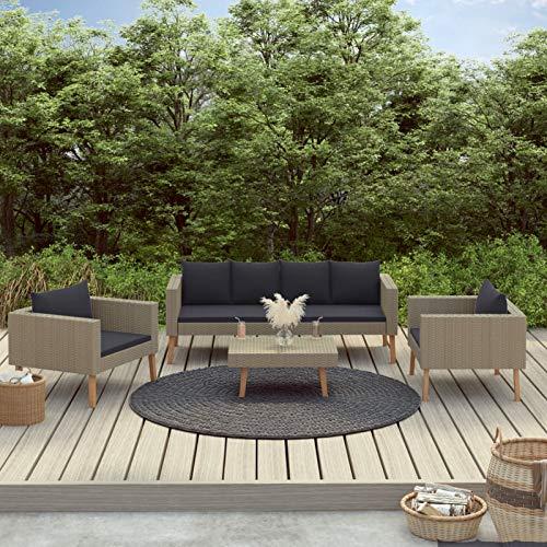 Festnight Muebles Jardin, Conjunto Mesa y Sillas Jardin, Sofa Exterior, Conjunto Terraza, Set de Muebles de jardín 4 pzas y Cojines ratán sintético Beige
