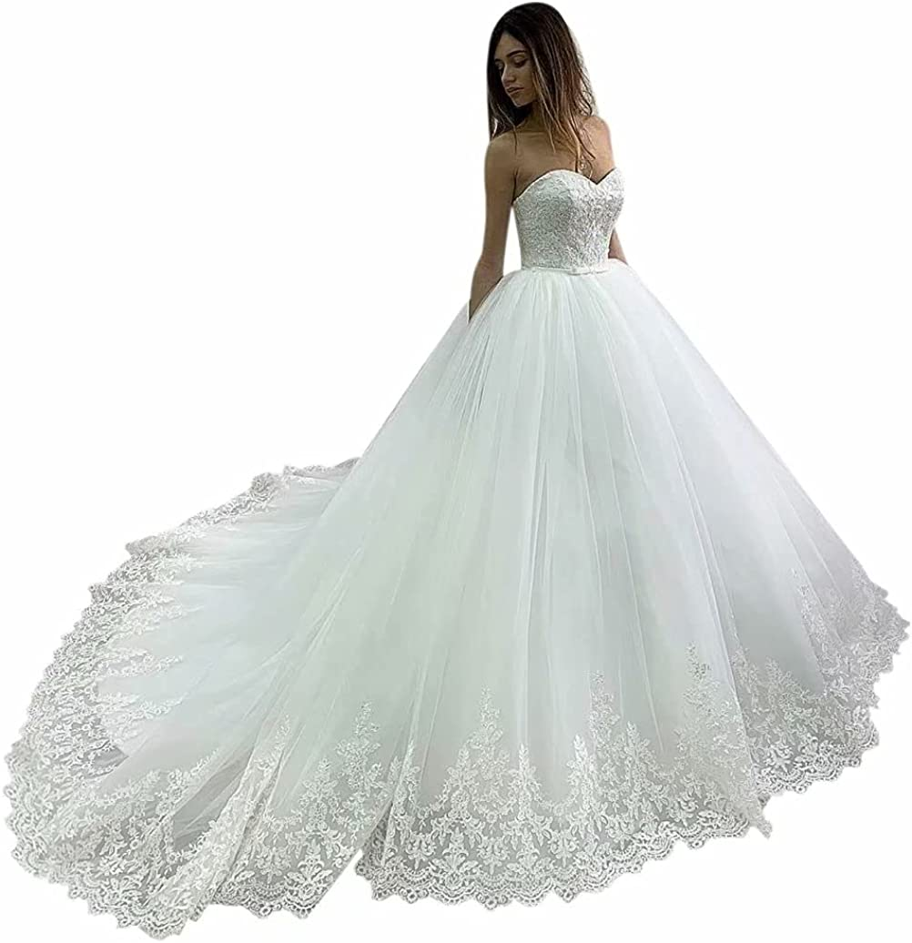 YIGIRL A-Line Wedding Dress for Bride Sweetheart Lace Tulle Ball Gown Wedding Dress