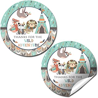 Wild Adventure Birthday Thank You Sticker Labels for Boys, 20 2