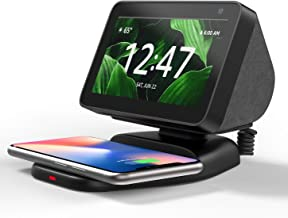 Echo Show 5 Stand with Wireless Charging, Adjustable Magnetic Mount Stand for Amazon Echo Show 5 with QI Phone Charging Pa...