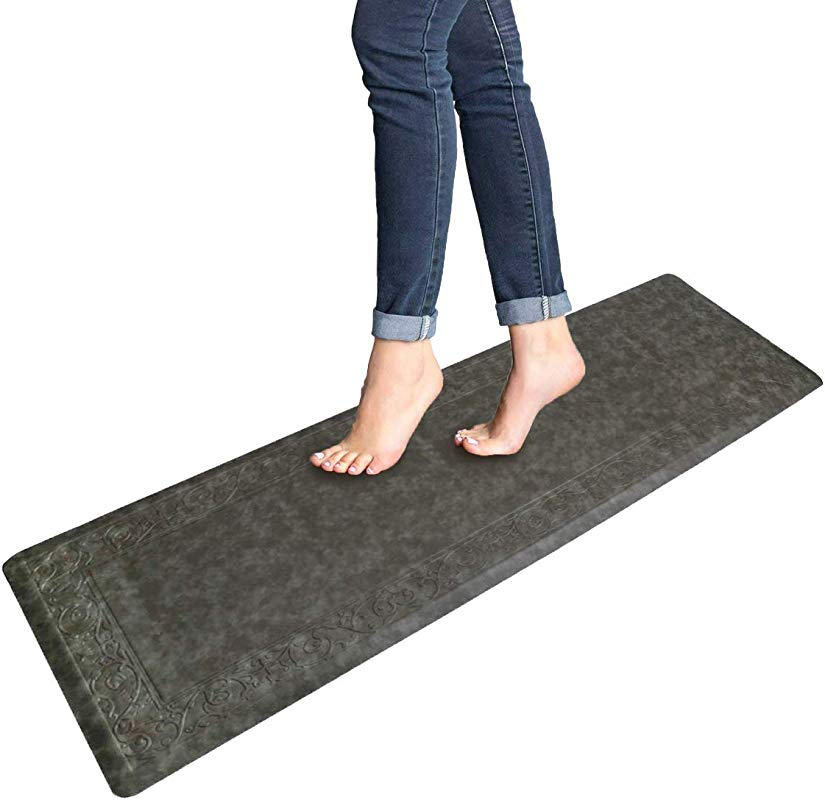 Pauwer Anti Fatigue Floor Mat Thick Cushioned Non Slip Kitchen Mat Waterproof Stain Resistant Floor Rug Comfort Standing Mat For Office Desk Gray 20 X60