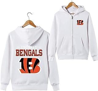 Hombres 3D Cincinnati Bengals NFL Patrón Uniforme Patrón Sudaderas Impresión Digital Amantes Cremallera Sudaderas con Capucha