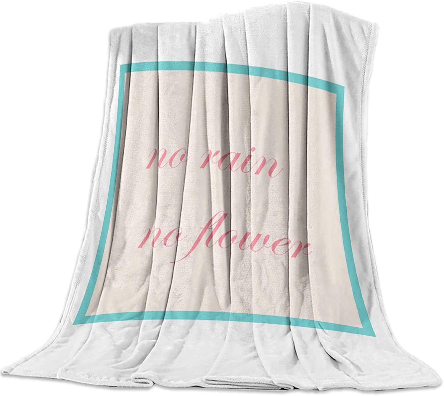 T&H Home Fuzzy Weighted Blanket White Pink Saying  No Rain No Flower Warm Flannel Throw Blanket for Baby Girls Boys Adult Home Office Sofa Chair Cars 50 x60