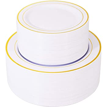"""120 Pieces Gold Plastic Plates, White Disposable Plates with Gold Rim, includes: 60 Dinner Plates 10.25"""", 60 Dessert Plates 7.5"""""""