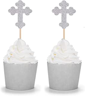 24 Counts Silver Glitter Cross Cupcake Toppers Christian Party Religious Comunication Decorations