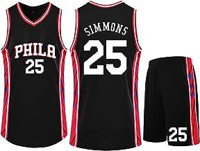 CNMD Phila # 25 Simmons Traje de Uniforme de Baloncesto, Trajes de Entrenamiento para Hombres/niños Chalecos de Baloncesto Tops/Trajes Cortos Telas Transpirables e hidratantes de Secado rápido-XS