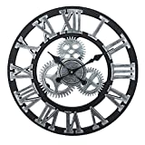 Vintage Industrial Gear Wall Clock,18 Inch Round 3D Roman Numerals Retro Rustic Battery Operated Non-Ticking Large Art Home Decoration for Living Room (18 inch Diameter, Antique Grey)