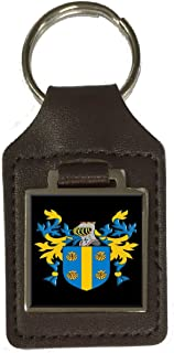 Mccormick Family Crest Surname Coat Of Arms Brown Leather Keyring Engraved