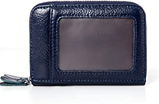 Increased Leather Card Holder Double Zipper Leather Wallet Multifunction RFID Anti-Theft Credit Card Cover Unisex (Color : Blue, Size : S)