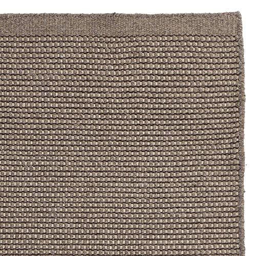 URBANARA Teppich Kolong - 100% Reine Woll-Baumwoll-Mischung, Graubraun, handgewebt – 140 x 200 cm,...