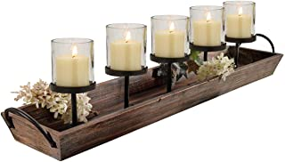 27.5 in. Rustic Wood Candle Centerpiece Tray w/ Five...