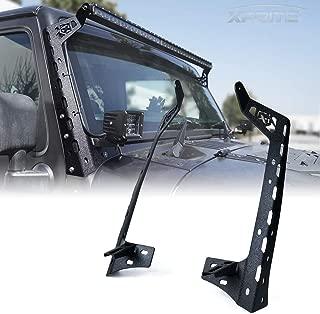 Xprite Mamba Series Front Windshield 50 Inch Light Bar Mounting Brackets w/Lower Bracket For 2007-2018 Jeep Wrangler JK Sport Sahara Rubicon LED Light Bars - 1 Pair (Left & Right)