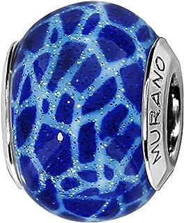 Thabora Charm Femme Argent rhodi/é et Verre de Murano C05014 Bleu et violet