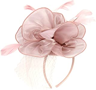 Urban CoCo Women's Bow Feather Net Veil Fascinator Hair Clip Bridal Hat