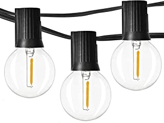 Newpow LED Outdoor String Lights 48ft with 25 Dimmable IPX6 Waterproof G40 LED Globe Bulbs - Clear Glass, 1W 60LM 2500K Warm Glow for Indoor/Outdoor Commercial Decoration and Lighting - Black