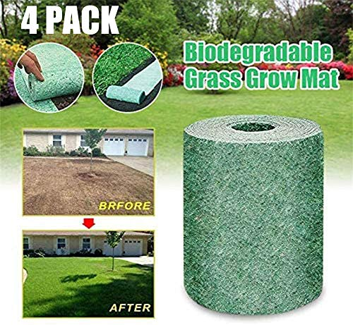 O'lemon Grass Seed Mat Roll, Biodegradable Grass Seed Mat,Windproof Solid Soil Shading Fertilizer Garden Picnic,Moisturizing,Shading - Just Roll Water & Grow (4 Pack)