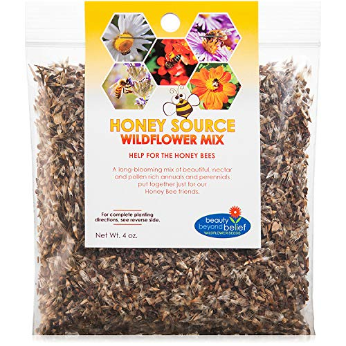 Honey Source Wildflower Seeds Mix for Honey Bees 4oz - Premium Annual and Perennial Flower Seed Mix...