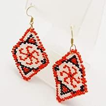 Handmade kolovrat Slavic Symbol earrings geometric rhombus Svarog Emblem nordic mythology jewelry
