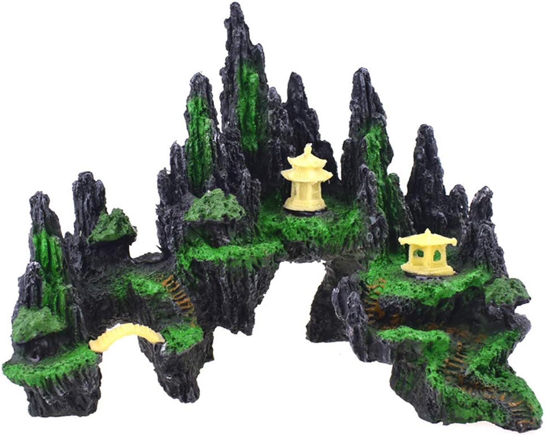 Aquarium Ornament, Mountain View Decor Rockery Landscape Rock Hiding Cave, Tree House Cave, Fish Tank Decoration