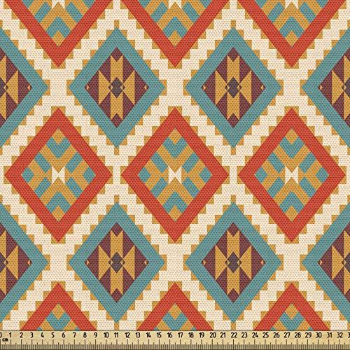 ABAKUHAUS Mexicano Tela por Metro, Étnica İndígena Retro, Decorativa para Tapicería y Textiles del Hogar, 1M (148x100cm), Multicolor