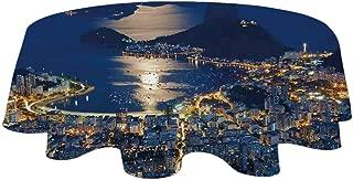 YOLIYANA Night Durable Tablecloth,Aerial View of Mountain Sugar Loaf and Botafogo Rio de Janeiro for Hotel,20