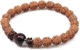 BALIBALI Handmade 5 Mukhi Rudraksha Bracelet Beaded Meditation Wrist Tibetan Bracelet Japa Prayer Charm Bracelets
