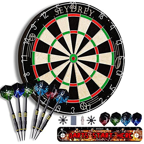 Dart Board, Dartboard Set Dart Boards for Adult Dart Set Sisal Steel Tip Dart Board with 6 Darts 18 Flights 1 Throwing Line