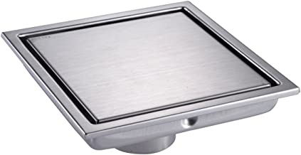 HANEBATH 6 Inch Square Shower Floor Drain with Tile Insert Grate,Brushed