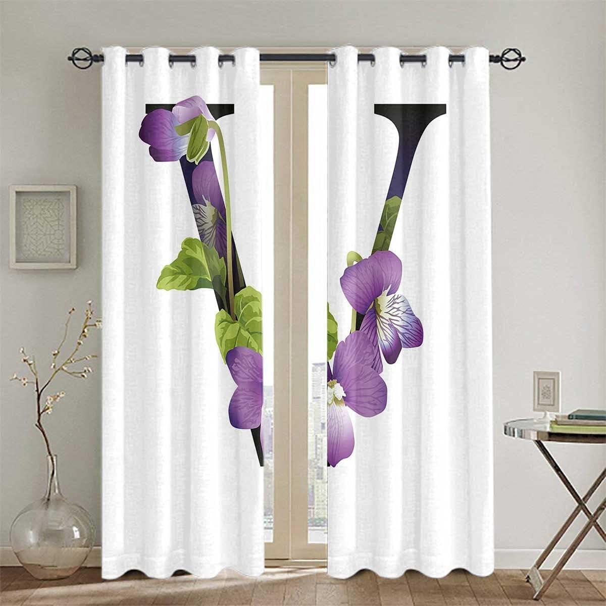 Special Campaign Room Darkening Blackout Curtain Grommets Viola Reservation Flower Bl Sororia
