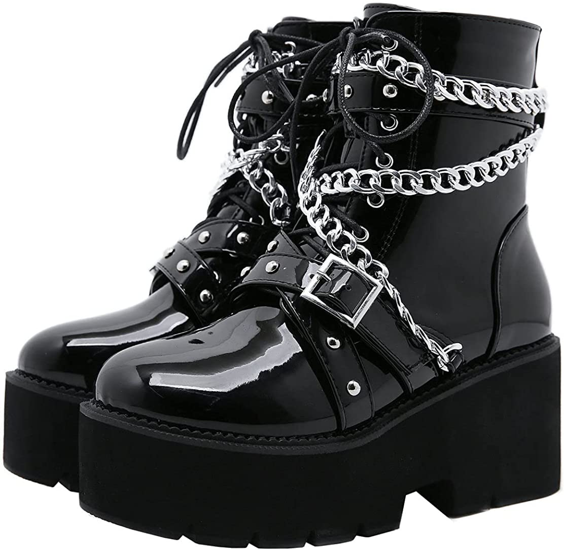 Popular shop is the lowest price challenge Caradise Womens Goth Platform Combat Lace Chunky Boots Mail order Heel Punk