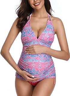 Women Halter Maternity Tankini Swimsuit Floral Pregnancy Plus Size Swimwear