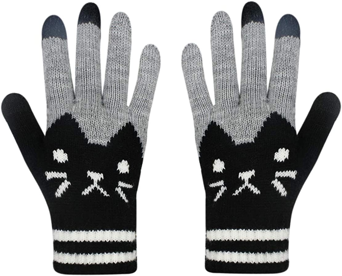 RARITY-US Touch Screen Warm Winter Knitted Gloves Soft Thick Wool Windproof Cold Proof Thermal Mittens for Women Girls