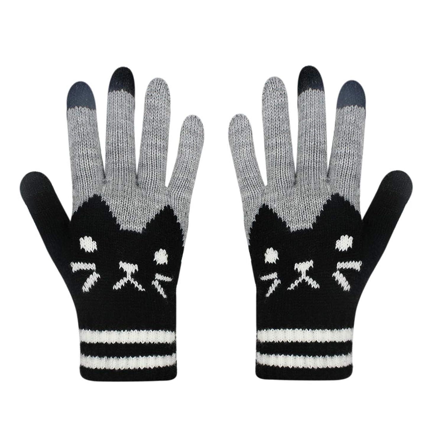 Women Men Winter Touch Screen Gloves Cat Warm Knit Texting Gloves Touchscreen Mittens