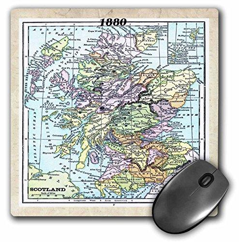 3drose LLC 20,3x 20,3x 0,6cm Maus Pad, 1880Map of Scotland (MP 38897_ 1)