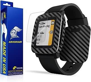 ArmorSuit Pebble Time Screen Protector MilitaryShield + Black Carbon Fiber Skin Wrap Film Back Protector for Pebble Time