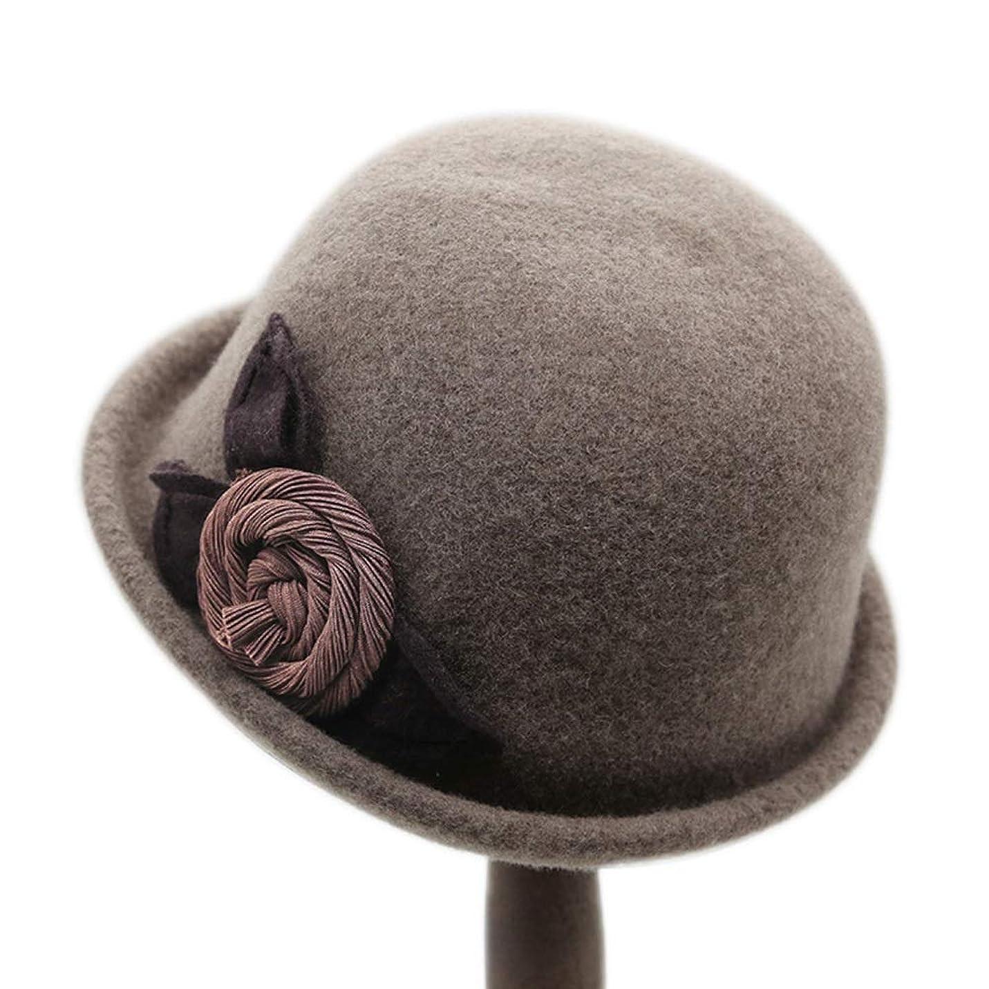 忠実に自明電話に出るZXF ブラウンカール帽子、女性のウールの帽子、女性の秋と冬のレトロファッションハット 柔らかい?軟らかい