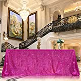 Mantel de lentejuelas color fucsia brillante, decoración de fiesta, mantel rectangular para cocina, cena, fiesta de cumpleaños, boda, baby shower, 228 x 332 cm