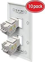 2 Port Cat6 Wall Plate and Keystone, GearIT 10x Cat 6 RJ45 Ethernet Wall Plate + 20x Punch Down Keystone Jack Ethernet Connector, White