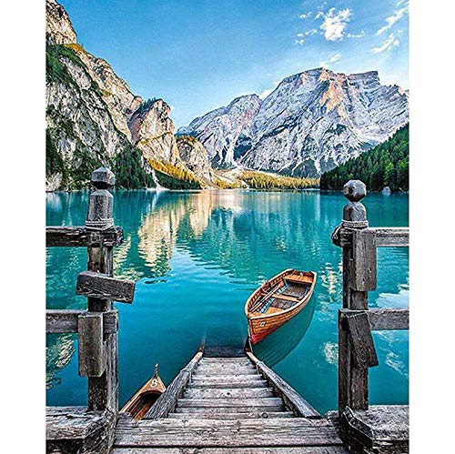 Abkbcw Home Decoration Scenery Large Lake & Mountain DIY 5D Diamond Embroidery Cross Stitch Kits Resin Hobby Craft 40x30cm