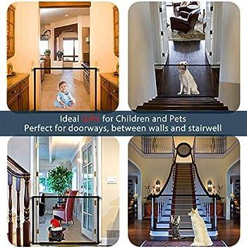 LAOSHIZI Barrière de sécurité Chien Barrière de Rétractable Pliable pour Barrière D'escalier de Sécurité pour Chiens et Bébé Noir