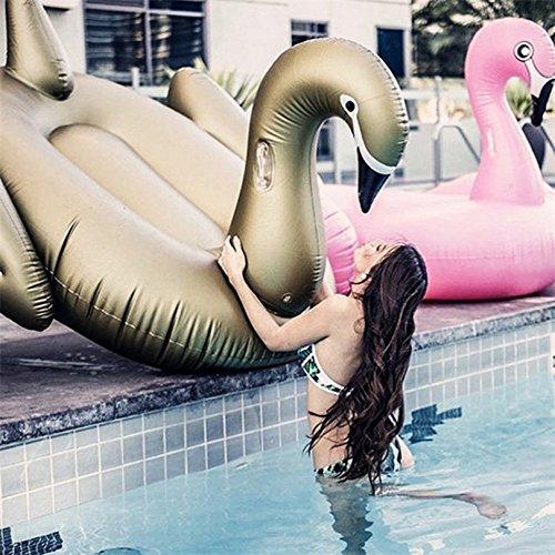 Piscina Inflable flotador Hinchable Colchonetas Gigante Cisne Dorado Piscina Flotadores Adultos Paseo En Cisne Anillo De Natación Colchón Vacaciones De Verano Diversión Acuática Juguetes
