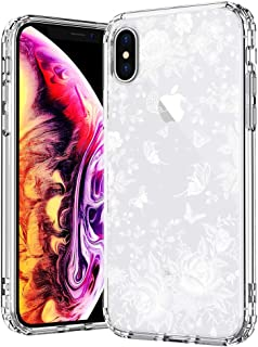 MOSNOVO Case for iPhone Xs/iPhone X, White Roses Garden Floral Printed Flower Clear Design Plastic Back Hard Case with Soft TPU Bumper Protective Case Cover for iPhone X/iPhone Xs