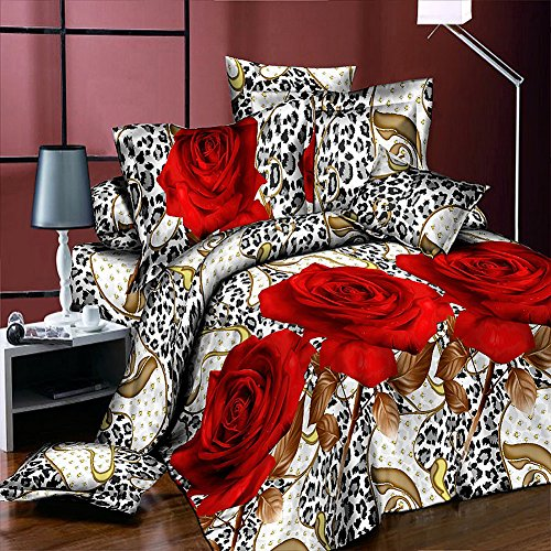 Heave 4Pcs Fresh New Leopard Red Rose Bedding Sets Polyester Fabric Comforter Sets 3D Floral Prints Duvet Cover Set Queen Size(1PC Bed sheet/1PC Comforter Cover/2 PCS Pillow Covers)