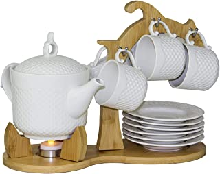 Ceramic Tea Cup and Tea Pot Set With Tea Candle worming system