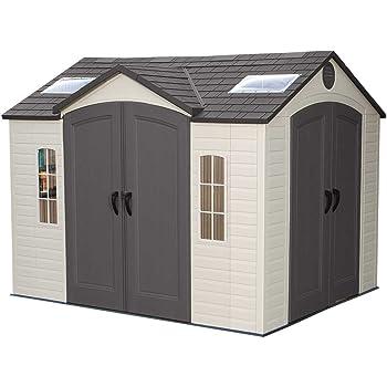 Lifetime - Casa de plástico para jardín (305 x 244 cm, con ventana y tragaluces): Amazon.es: Jardín