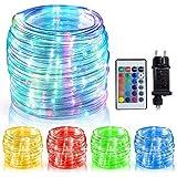 WOWDSGN Guirnalda Luz Color Tubo, 150 LEDs 15 m + 5 m + 1,5 m, Guirnalda ligera color interior y exterior tubo, IP65 a prueba de agua/16 colores/4 modos/Control remoto /Temporizador