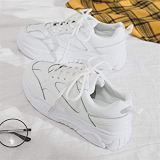 Korean Version of The White Shoes Female 2019 Spring New Sports Board Shoes Students Basic Wild Korean Women's Shoes (Color : White, Size : 40)