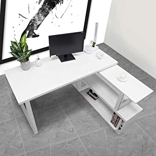 L Shaped Computer Desk – Bizzoelife Rotating L Shape Corner Desk 55 Inches Writing Table with Storage Shelf for Workstation Sturdy Gaming (White)
